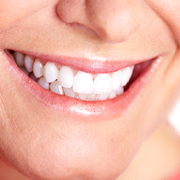 Close-up of mature woman's beautiful, bright, healthy smile